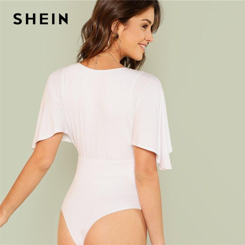 902dc2faf8 SHEIN Elegant Deep V Neck Half Flutter Sleeve Low Waist White Solid Skinny  Bodysuit Summer Women Sexy Bodysuits -in Bodysuits from Women's Clothing on  ...