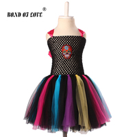 Kids Christmas Dress Princess Party Costume Baby Tutu Dress Children Clothing Rainbow Skull Kids Dresses For