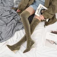 Новые Брендовые женские сапоги, украшенные кристаллами, Сапоги выше колена на среднем каблуке, sapato feminino, блестящие высокие сапоги с блестка