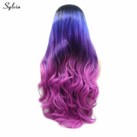 Sylvia Cosplay Black Blue Purple Pink Wig Glueless Long Body Wave Wigs Synthetic Lace Front Wigs For Women Heat Resistant Fiber