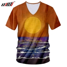 UJWI 3D Printed Sunset And Sea Man Tee Shirt Colored Scenery T-shirt Mens Large Size Casual Brand V Neck Tshirt Free Shipping