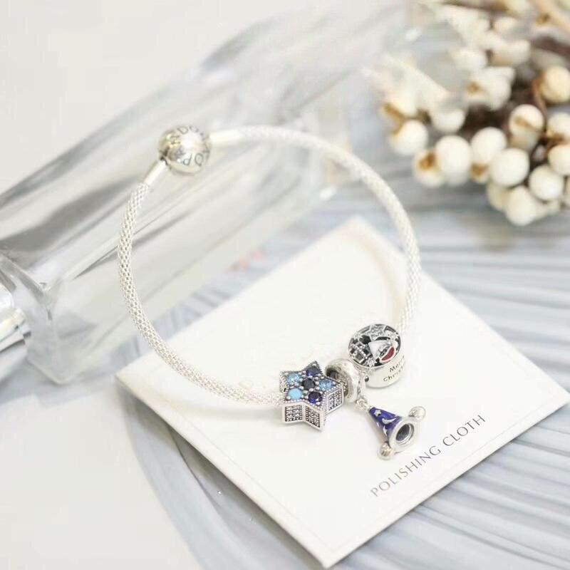 S'adapte à bijoux charme bricolage dames fête cadeau bijoux chapeau magique à cinq branches étoiles perles 925 en argent Sterling Bracelet fini