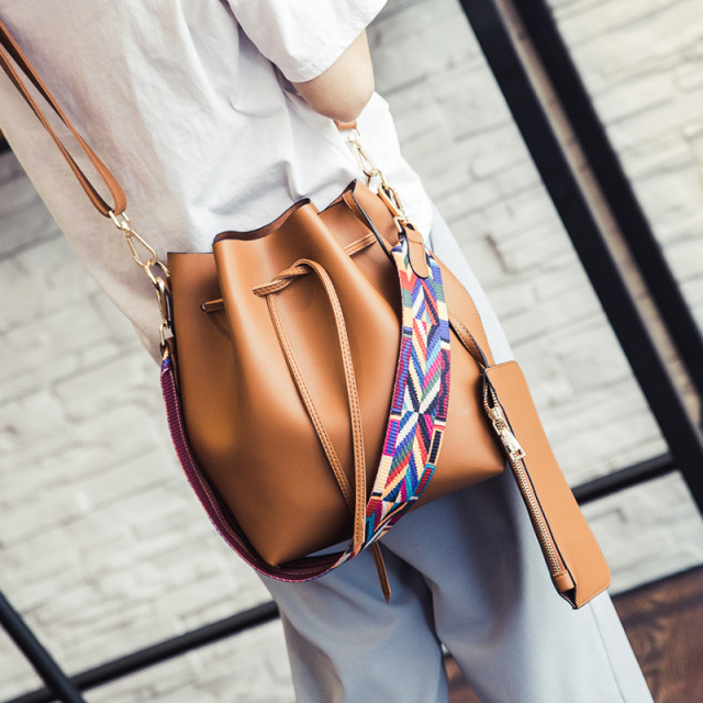 Fashion color Strap bucket bag Women High Quality pu Leather Shoulder Bag Desinger Ladies Crossbody Bags bolsa feminina Handbags