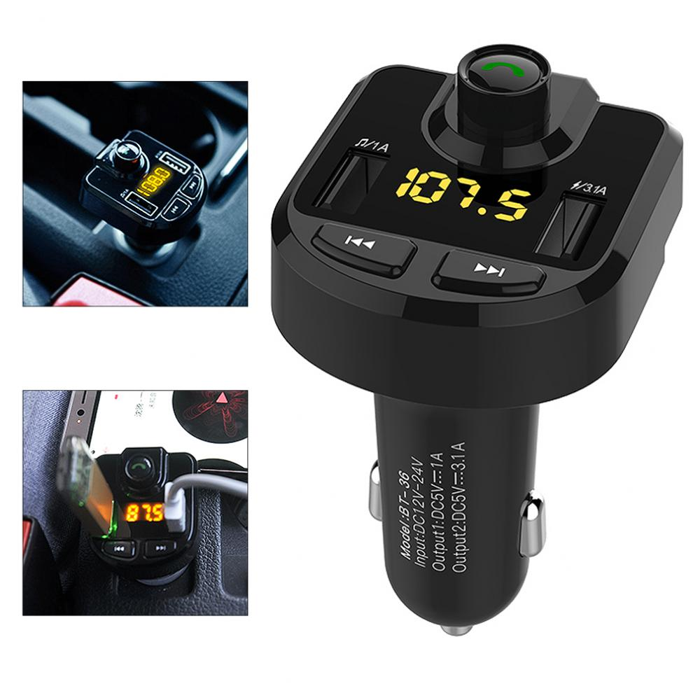 Car Bluetooth Charger FM Transmitter MP3 Radio Player With Dual USB Charger Voltage LED Display TF Card Music HandFree Kit