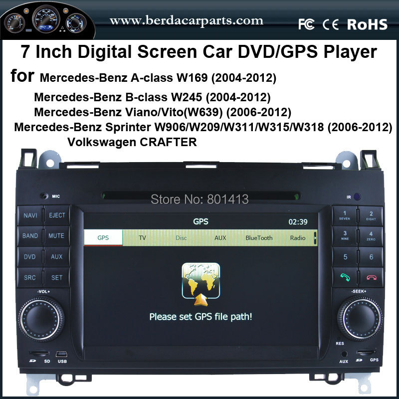 Car DVD/GPS player for Mercedes-Benz A-class W169 B-class W245 Viano/Vito(W639) Sprinter W906/W209/W311/W315/W318