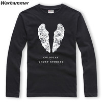 Coldplay ghost stories band shirts long sleeve men crew neck T shirt coldplay style casual solid loose t shirt homme plus size