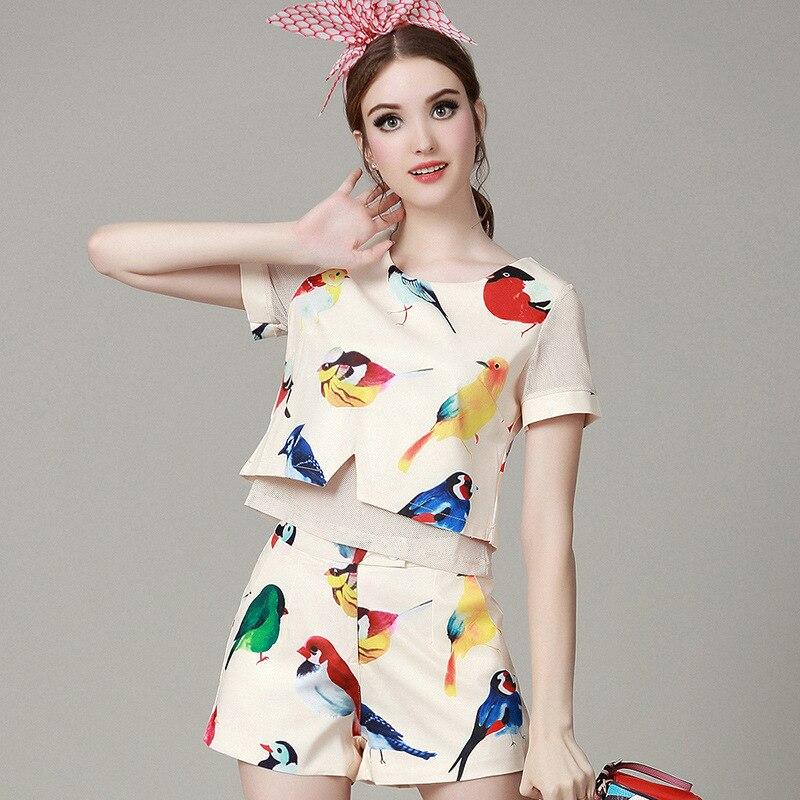 2016 Summer Hot 2 Piece Set Women Tops Fashion Fresh bird printed short sleeved T shirt