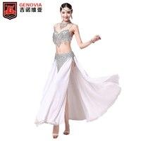 New Arrival 2016 Professional Belly Dance Costume 4 Pcs Set Bra Belt Skirt Flowery Necklace
