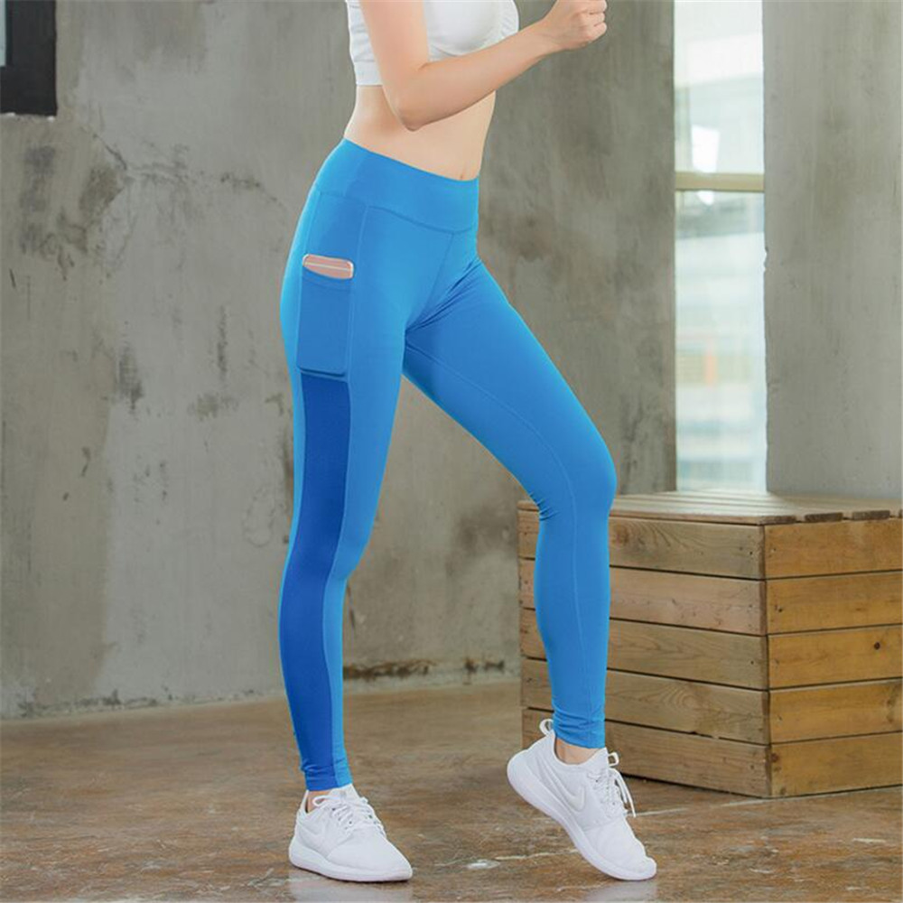 Women Yoga Trainning Tight Pants with Phone Pocket Gym Running Flexible Tights Quick Dry Perspiration Gym Exercise Long Pants