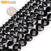 Natural Faceted Heart Shape Black Agates Beads For Jewelry Making 15inches 8-16mm DIY Freeshipping Wholesale Gem-inside