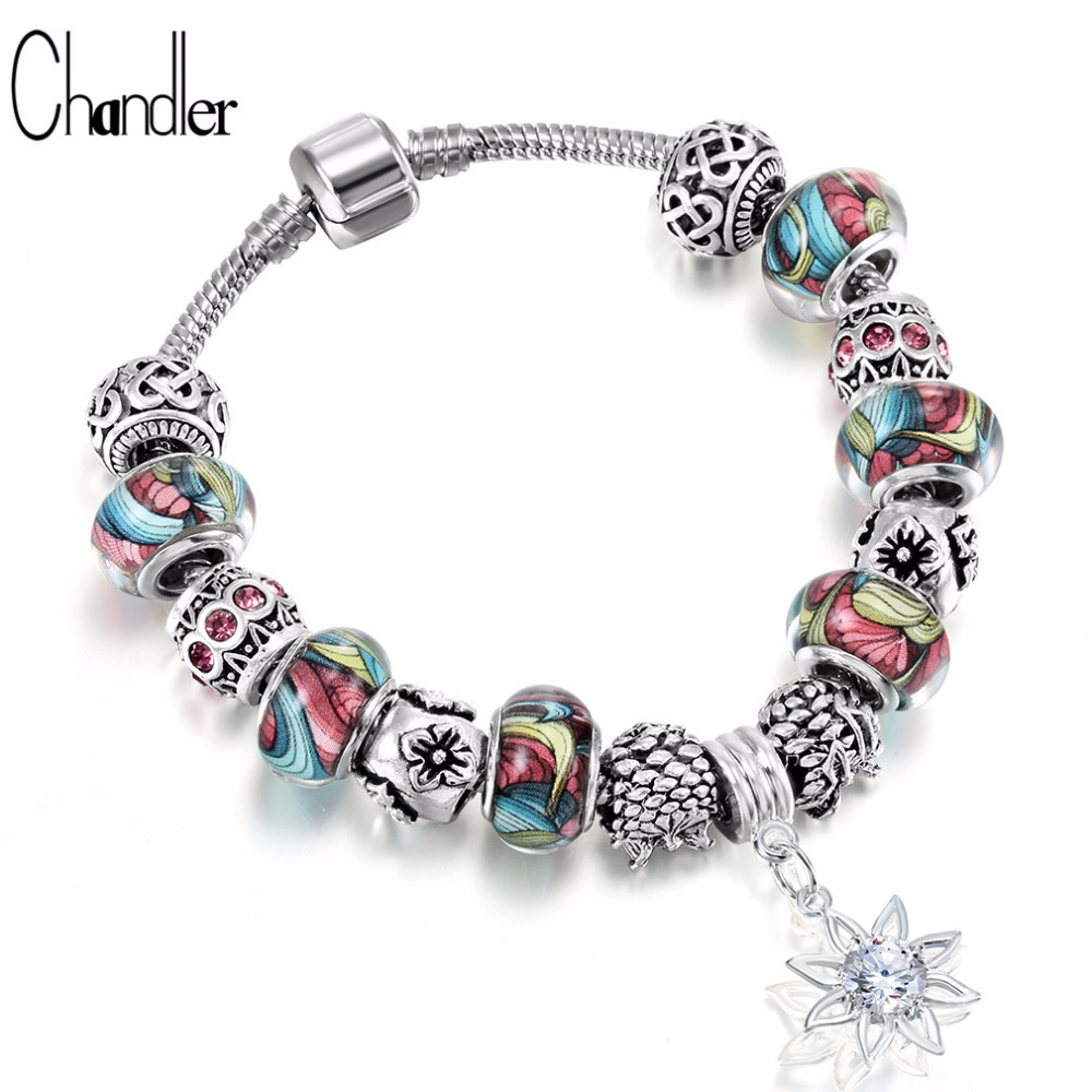 Chandler Boho Clear Resin Bead <font><b>Bracelet</b></font> For Women Crystal Sunflower Dangle Fit For <font><b>Pan</b></font> <font><b>Bracelets</b></font> & Bangle Summer HAN image