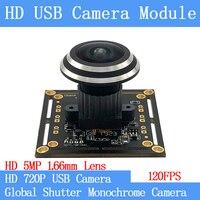 1280*720P 120FPS MJPEG USB Camera Module Non Distortion Global Shutter High Speed OTG UVC Linux USB Fisheye Surveillance camera