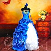 Envío libre Anime FATE/TIPO MOON10 CERO Sable Vestido Cosplay Traje S-XL Azul Blanco Por Encargo