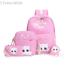 Стойки холст Рюкзаки для девочек прекрасный кот печать 4 шт. для девочек-подростков школьного рюкзака