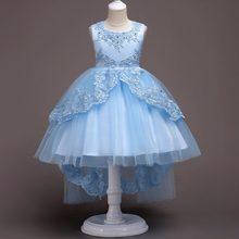 8069c6c9718711 Neue stil hochzeit pageantkids party Prinzessin kleid für mädchen kind  hinter kleid kinder spitze blume mädchen