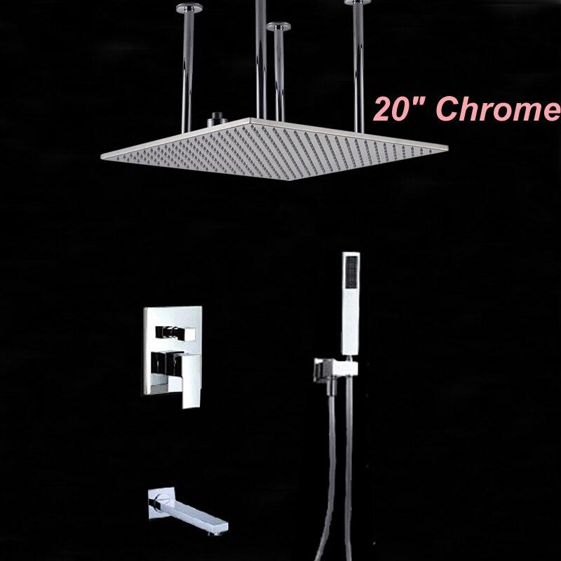 Wholesale And Retail Polished Chrome Finish 20 Square Rain Shower Faucet Head Single Handle Valve Mixer Tap Tub Spout Hand Unit
