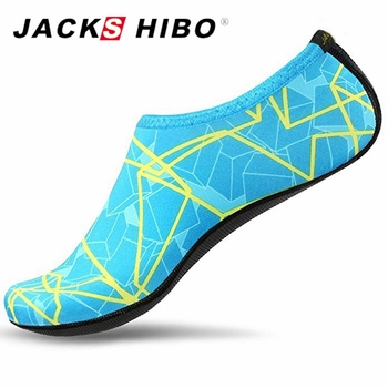 JACKSHIBO Summer Women Water Shoes Aqua Slippers for Beach Slip On Waterpark Slides Slippers Chaussure Femme Striped Colorful