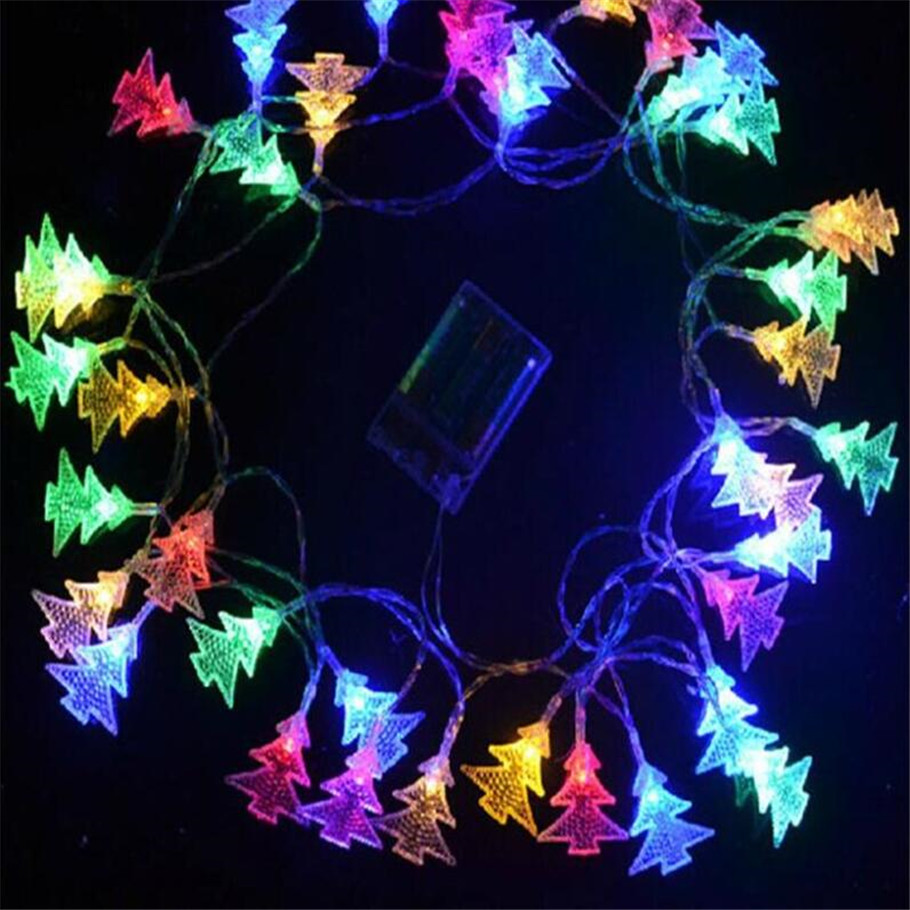Nice 8M 50LEDs 3pcs AA Battery Operated LED Christmas Tree Shaped String Lights  For Wedding Party Xmas Festival Patio Decoration In LED String From Lights  ...