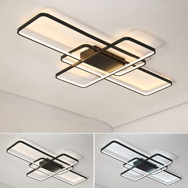 สี่เหลี่ยมผืนผ้ารีโมทคอนโทรลโคมไฟเพดาน LED โมเดิร์นสำหรับห้องนั่งเล่นห้องนอน Home AC85 265V สีขาว/สีดำโคมไฟเพดานโคมไฟ