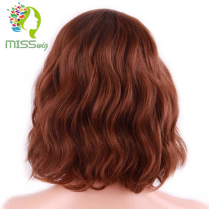 Image 4 - MISS WIG Short Water Wave Synthetic Hair 8Colors  Available Wig For Women Heat Resistant Fiber Daily False Hair