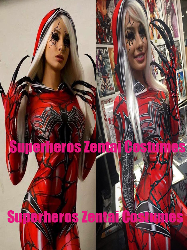3D Printed Carnage Gwen Spidergirl Cosplay Costume Hoodie Zentai Bodysuit Spiderman Catsuit Spider Gwen Stacy Cosplay