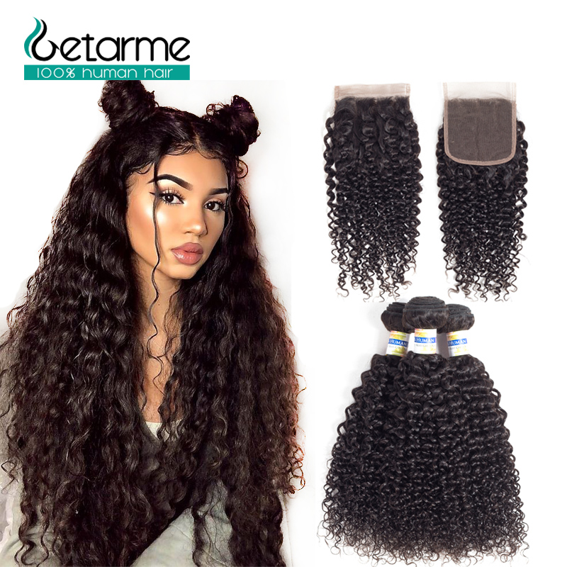 3 Bundles Brazilian Kinky Curly 3 Bundles Deals With 4*4 Lace Closure Pre-Plucked Natural Black Getarme Human Hair Non-Remy