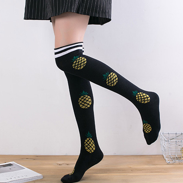 2d2c07bbd Women Over Knee Socks pineapple watermelon swan Flamingos milk Ladies  Cotton Stockings High Thigh Stripe Fruit Stocking Le34440