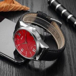 Image 4 - OULM moda biznes Oversize zegarek mężczyźni zegar kwarcowy z cyframi rzymskimi czerwony Dial skórzany pasek klasyczne męskie zegarki Top marka luksusowe