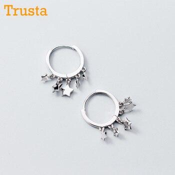 f3c507b7c80a Trusta 2018 mujeres moda 100% sólido Plata de Ley 925 estrella borla encanto  pendiente para