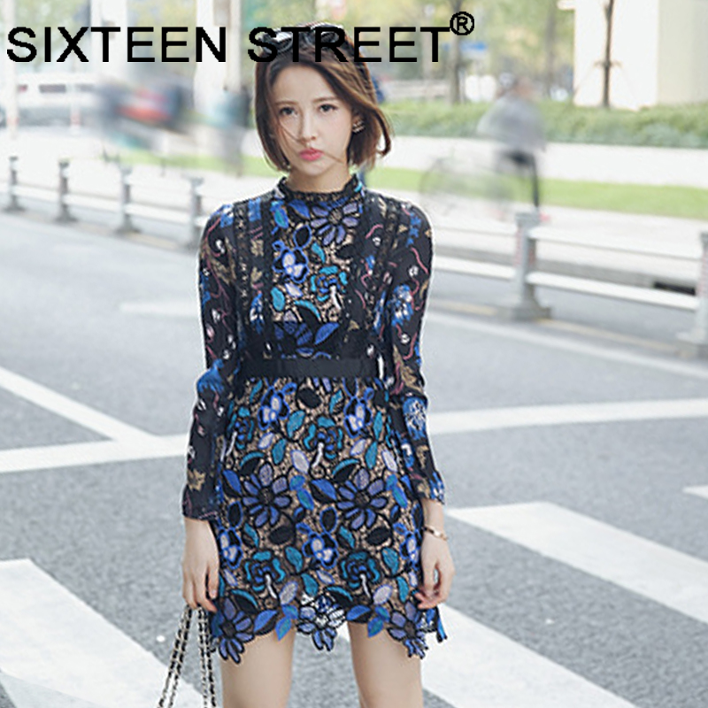 303fe80ef93a 2018 New blue floral print lace dress woman long sleeve hollow out vintage  runway mini dress