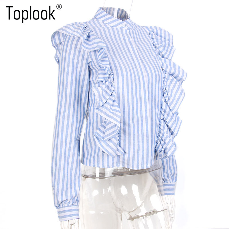 HTB18jISPVXXXXbUapXXq6xXFXXXc - Blue Frilled Blouse Striped Long Sleeve Shirt Women Casual