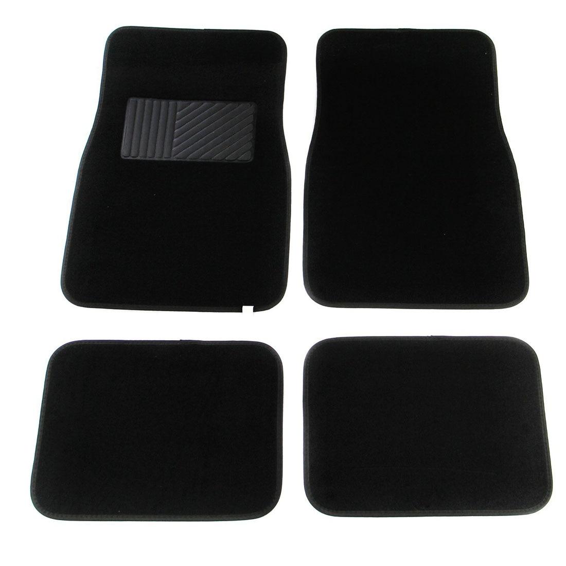 Multi Season Carpet Floor Mats 4pc Set Black Fit Most Cars, SUVs, Vans and Trucks