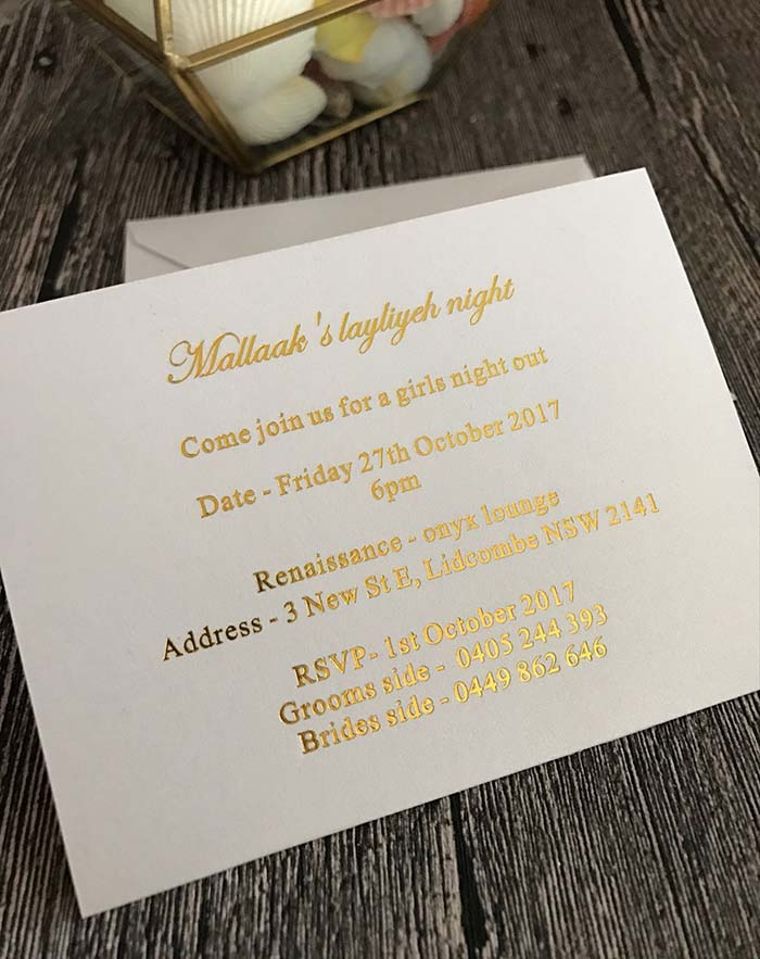 simple flat card gold foil wedding invitations with white envelope