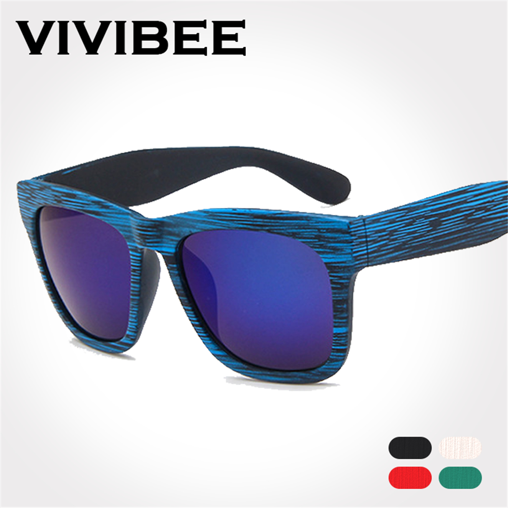 bbf1f4b3141 VIVIBEE Best Choose Imitation Bamboo Blue Frame Sunglasses for Men and Women  Eye wear Vintage Style Fashion Glasses Shades