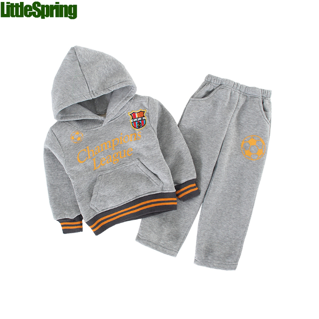LittleSpring Baby Boys Cotton Sets 2017 New 2PCS Letter Print Hoodies with Trousers Boys' Casual Tracksuit Boy Outfits Suits