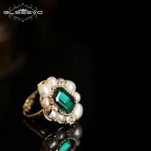 Image 4 - GLSEEVO Natural Fresh Water Pearl Stone Ring For Women Engagement Wedding  Handmade Origainal Design Luxury Jewellery  GR0239