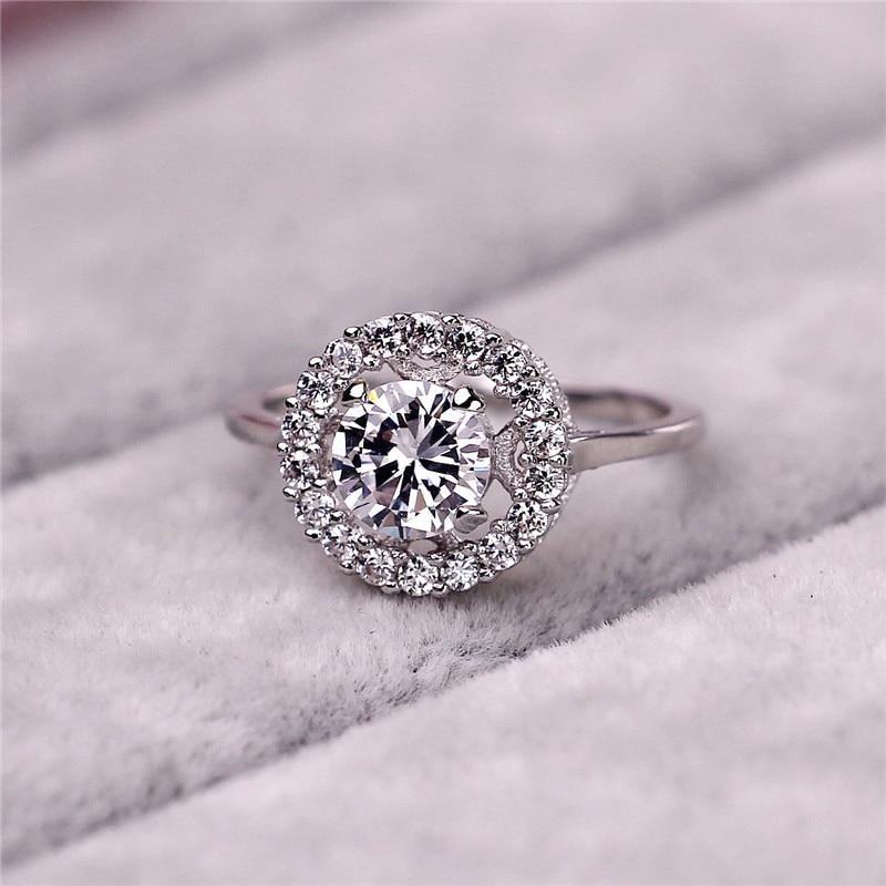 Women Zircon Ring for Wedding Forever Love Split Shank Carat Square CZ Diamond Engagement Ring Popular Pave Setting
