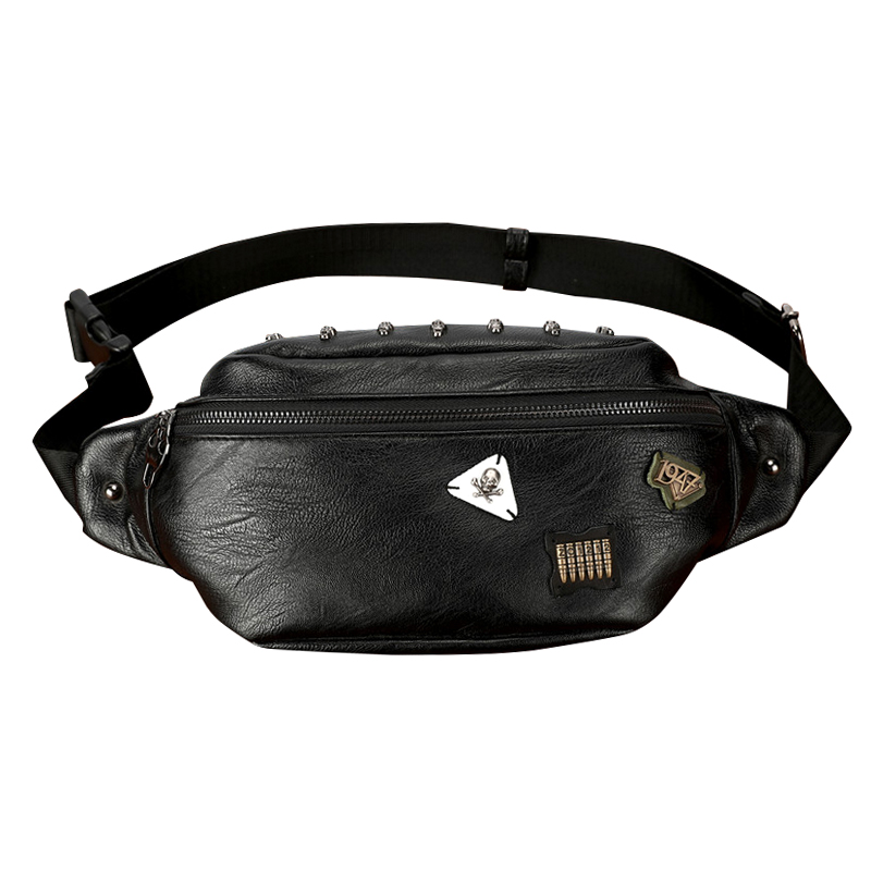 Skull Rivet Badge Waist Bag Men PU Leather Casual Travel Belt Bag Black Male Waist Packs Fanny Pack Hip Hop Chest Phone Pocket