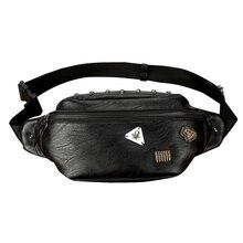 Tide Skull Rivet Badge Waist Bag Men PU Leather Casual Travel Belt Black Male Bags Fanny Pack Phone Pocket Carteira