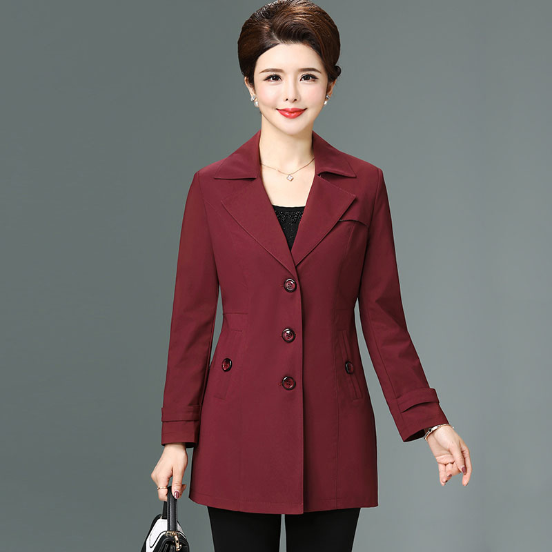 New 2019 spring autumn slim trench coat middle age women elegant turn down collar single breasted outerwear plus size