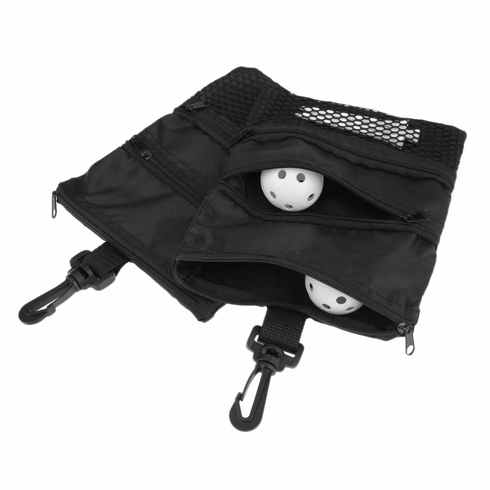 412a59dd0665 ... Black Mini Portable Golf Ball Bag Golf Tees Holder Multi-Pocket Zipper  Mesh Pouch Storage