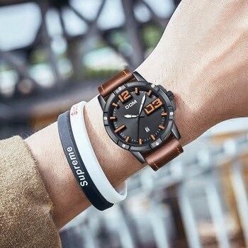 419ee57b0a1b DOM 2018 nuevo reloj hombres gran Dial elegante deporte reloj de cuarzo de  cuero impermeable relojes para hombre marca de lujo reloj Masculino M-1218