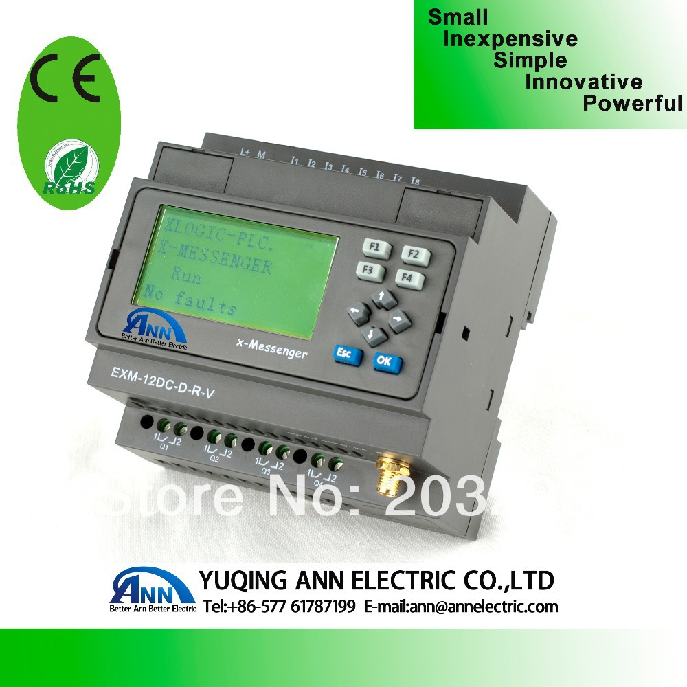 PLC  EXM-8AC-R-HMI  with LCD,Programmable logic controller plc programmable logic controller module and 3 5 inch hmi learning plan hmi plc