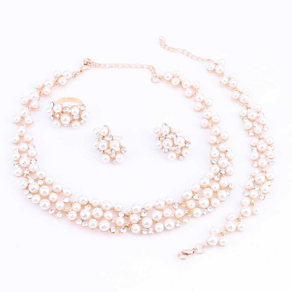 Золотой цвет имитация жемчуга невесты Свадебные Ювелирные наборы Кристалл ожерелье серьги браслеты из колец наборы женские вечерние подарок