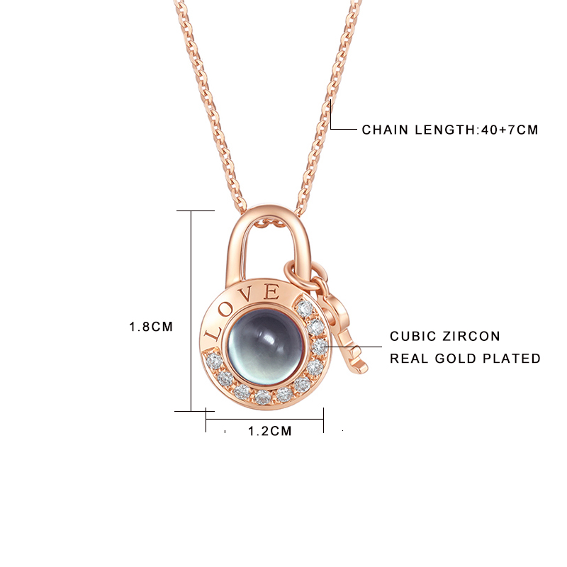 New Rose Gold 100 Languages I Love You Projection Pendant Necklace Love Memory Wedding Necklace Valentine's Day Gifts