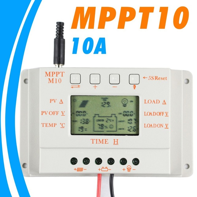 10A Solar Charger 12V Solar Panel Battery Regulator Charge Controller LCD Display Dual Timer Function M10 250W Solar Panels M10
