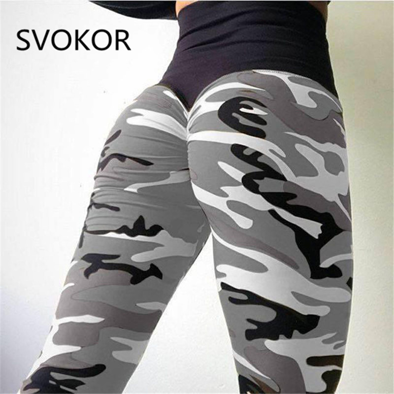 SVOKOR Camo Printing Fitness Leggings Women High Wist Polyester Pants Comfortable Workout Push Up Fashion Women Leggings