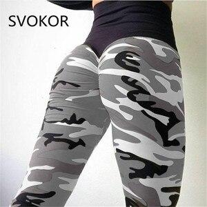 Image 1 - SVOKOR Camo drukowanie Fitness legginsy damskie spodnie z wysokim stanem poliester wygodne trening Push Up moda damska legginsy