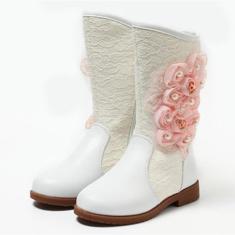 Princess high boots beautiful flower children snow boots ...
