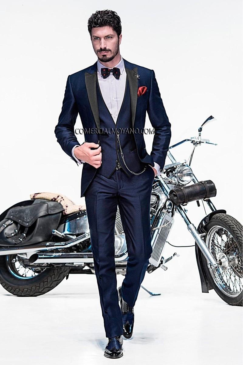 Slim Fit Groom Tuxedo Navy Albastru Groomsmen Vârf Pepene Nunta / - Imbracaminte barbati